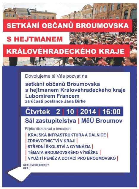 Setkání občanů Broumovska s hejtmanem Královéhradeckého kraje Lubomírem Francem