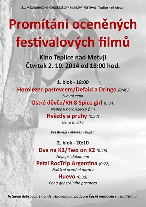 Promítání oceněných festivalových filmů