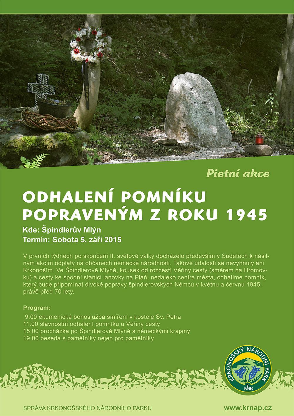 Odhalení pomníku popraveným z roku 1945