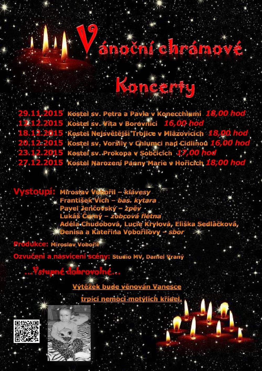 Vánoční chrámové koncerty - podpora pro Vanesku